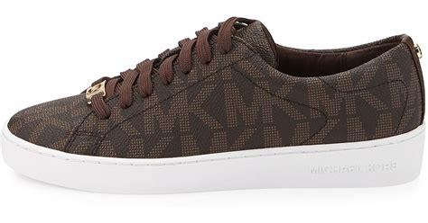 michael kors brown sneakers lyst michael michael kors keaton logo pvc sneaker in brown