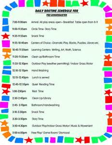 daily schedule for toddlers daily schedule for preschool