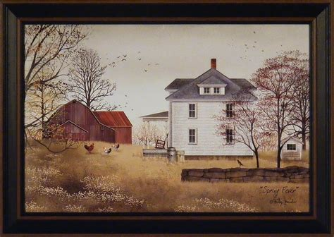 house prints spring fever by billy jacobs 15x21 framed print folk art farm chickens house ebay