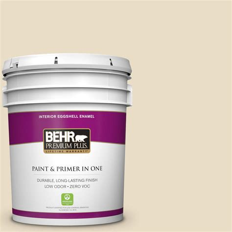 behr premium plus 5 gal 22 navajo white eggshell enamel interior paint 205005 the home depot