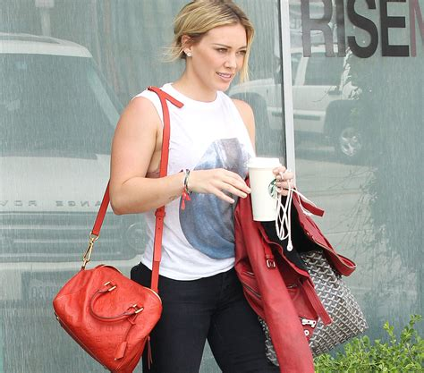 Other Designers Hilary Duff With Designer Travel Bags by Goyard Designer Handbags Watches Shoes Clothes
