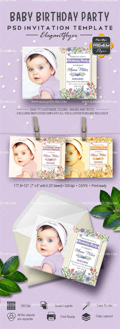 Baby Birthday Party Invitation Psd Template By Elegantflyer Birthday Invitation Template Psd