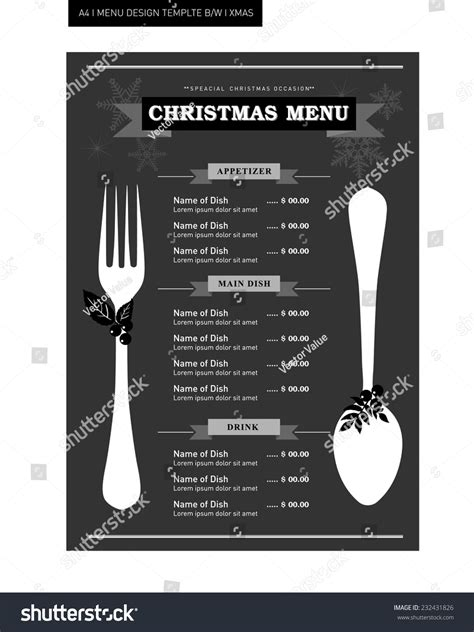 Restaurant Food Menu Template Design Black And White For Christmas Occasion Stock Vector Black Menu Template
