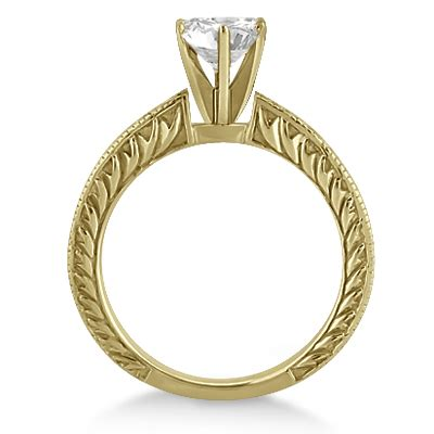 Engraved Solitaire Engagement Ring In 18k Yellow Gold by Antique Engraved Solitaire Engagement Ring Setting 18k