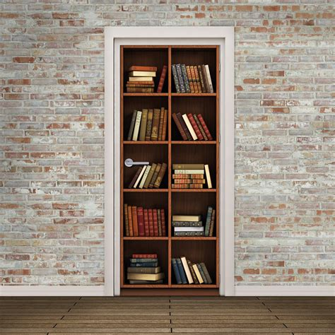 door mural bookcase with books high resolution hd print