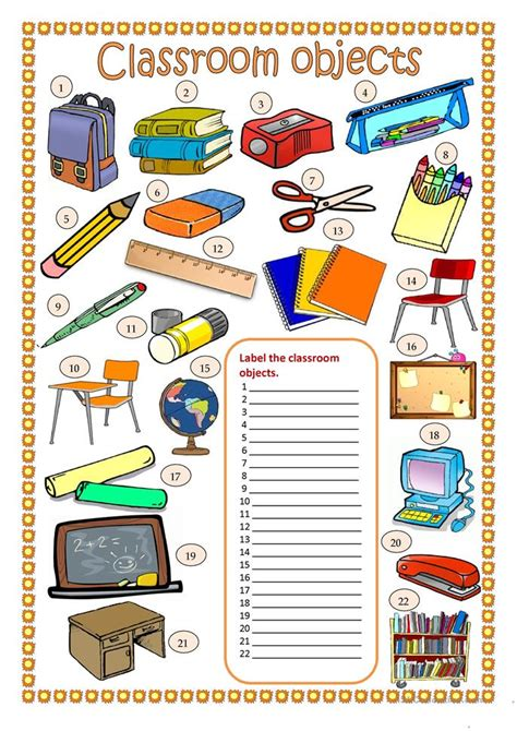 Classroom Worksheets by Classroom Objects Worksheet Free Esl Printable