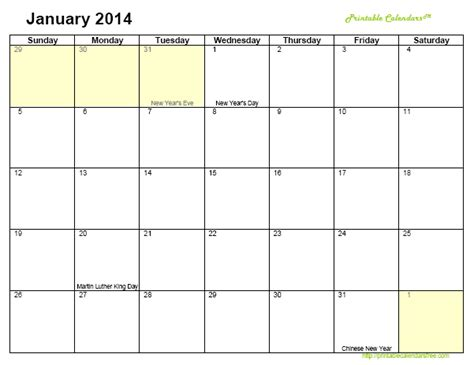 6 best images of easy free printable calendars 2014