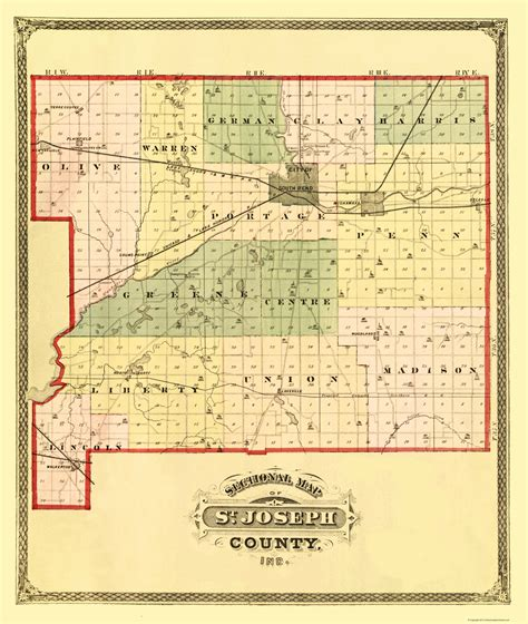 St County Civil Search County Maps St Joseph County Indiana In Map By Higgins Belden 1875