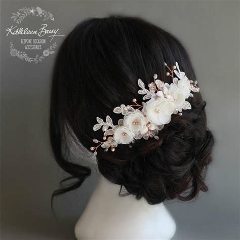 Handmade Hair Style - floral lace gold bridal hair veil comb luxury