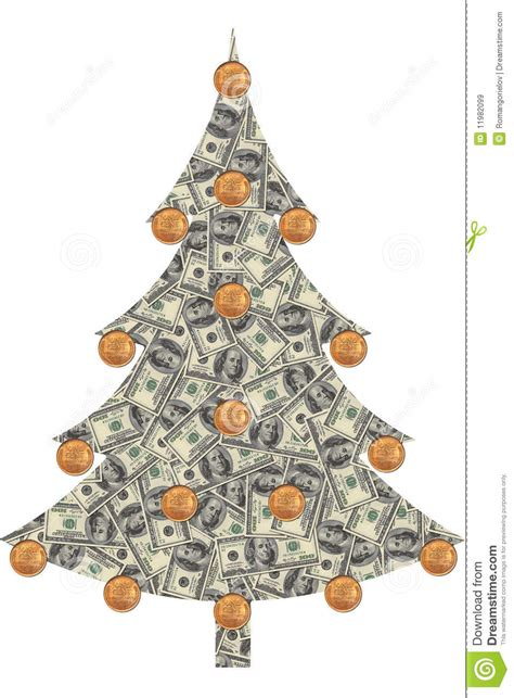 christmas tree made from dollars stock illustration
