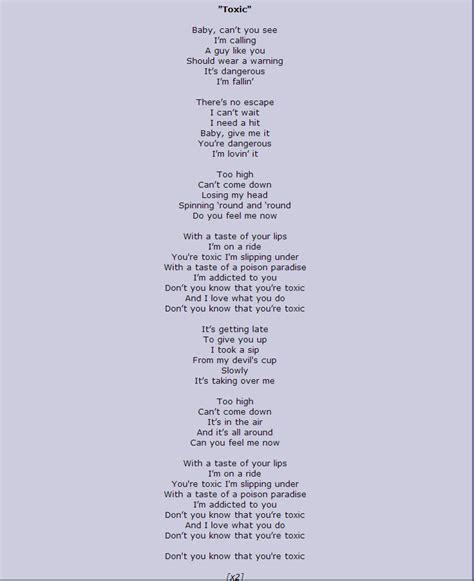 Toxic Lyrics 28 Images Toxic W Lyrics Rock Version By