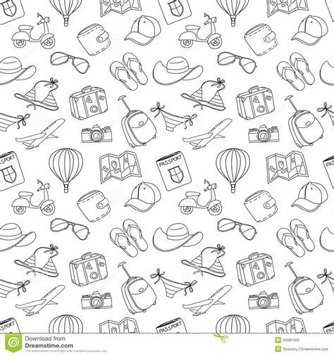 seamless pattern sketch summer vacation sketch doodle seamless pattern black and