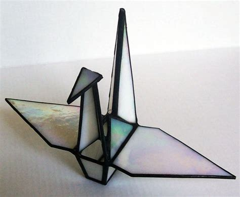 Origami Glass - stained glass origami sadakos peace crane tsuru symbol