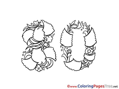 80 years of color books 80 years flowers printable coloring pages happy birthday