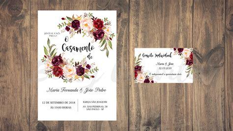 convite de casamento flores em aquarela arte flores aquarela marsala ii convite digital casamento