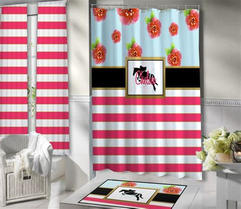 horse themed bathroom horse themed shower curtain pink white stripes floral