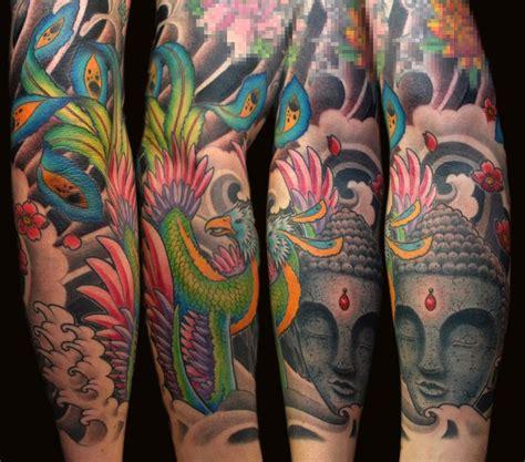 tattoo oriental phoenix tattoo full sleeve fullcolor color oriental budha