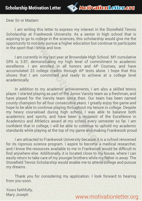 motivation letter for scholarship help motivation letter