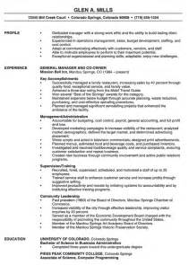 Exle Of Manager Resume by Restaurant Manager Resume Exle