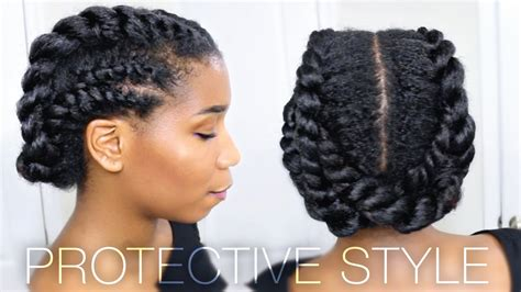edgy twisted office gym protective natural hairstyle work out youtube