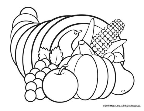 thanksgiving coloring pages cornucopia printable coloring