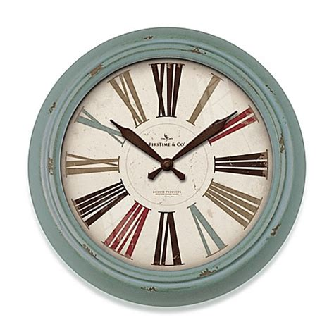 bed bath and beyond clocks firstime 174 relic wall clock in teal bed bath beyond