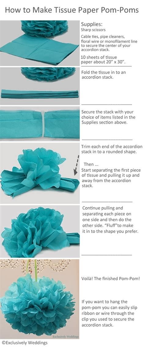 How To Make Pom Poms Out Of Tissue Paper - how to make tissue paper pom poms exclusively weddings