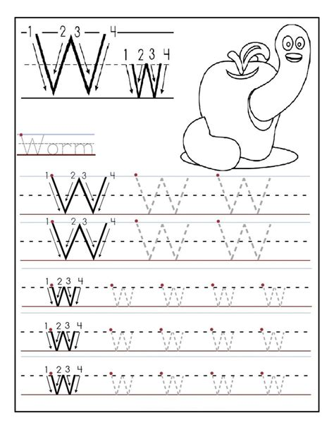 kindergarten activities pdf printable letter w tracing worksheets for preschool fun
