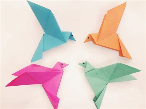 Folded Paper Birds - how to make a paper bird easy origami