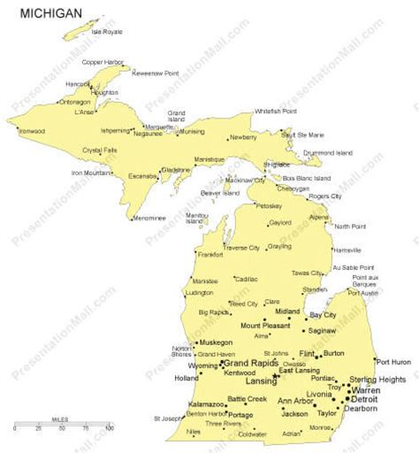michigan map with cities michigan map with all cities images