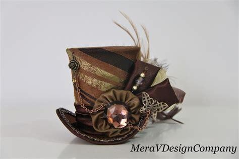 Steunk Mad Hatter Mini Top Hat Brown | women mini top hat steunk brown fascinator hat mad hatter