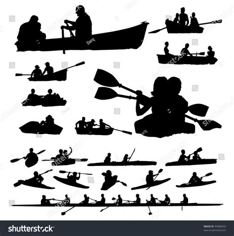 Free Search For Peoples Address Twenty Peoples Vector Silhouettes On Boats And Kayaks 45980542
