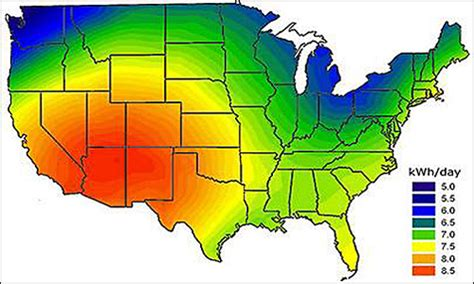 solar radiation map usa solar basics overview