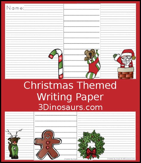 christmas themed paper fun free christmas themed writing paper 3 dinosaurs