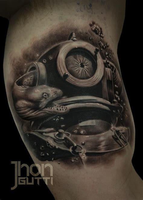 diving helmet tattoo diver helmet by jhon gutti tattoonow