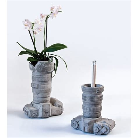desk pot seletti large cement camera desk organiser plant pot vase