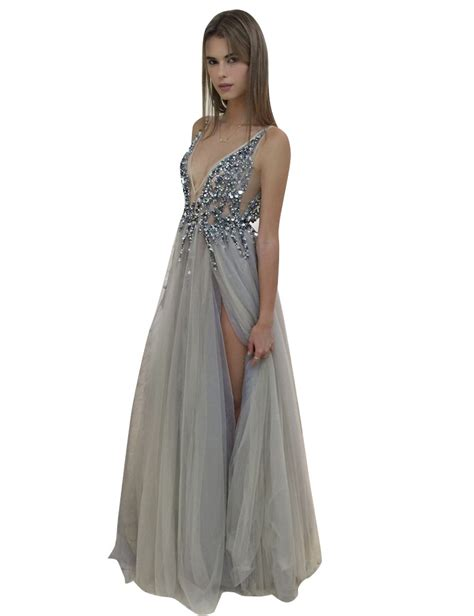 V Neck Prom Dress a line v neck sleeveless backless grey tulle prom