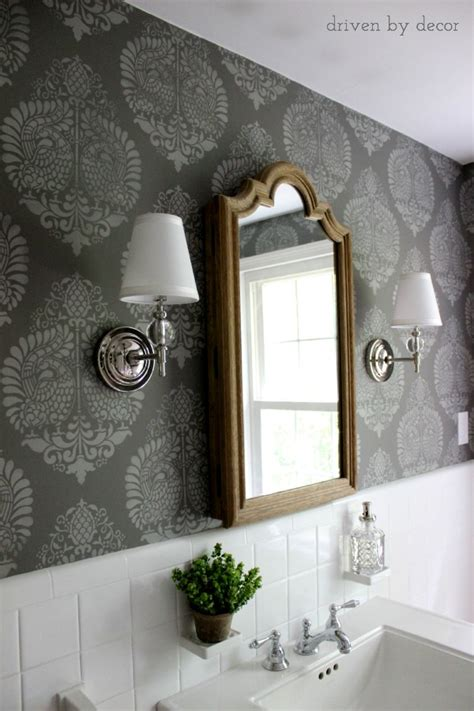 bathroom wall stencil ideas our stenciled bathroom budget makeover reveal driven by