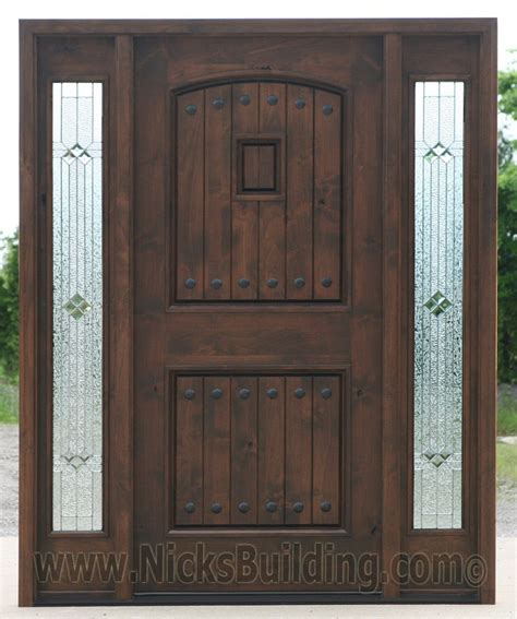 Exterior Door Stain Colors Black Walnut Wood Stain Color Knotty Alder Doors With Sidelights 2499 Builder Zinc Glass Shown