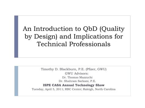 quality by design qbd powerpoint ppt an introduction to qbd quality by design and