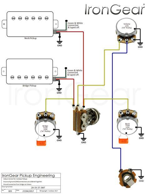 wiring diagram  humbuckers  volume  tone   switch