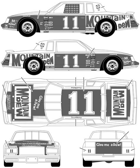 buick stock car   darrell waltrip mountain dew coupe blueprints  outlines