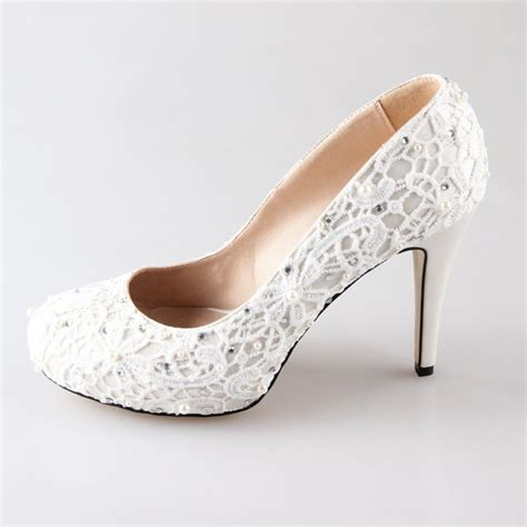 Wedding Shoes High Heels Ivory by New Ivory Lace Pearl Wedding Shoes Shoes Prom Shoes