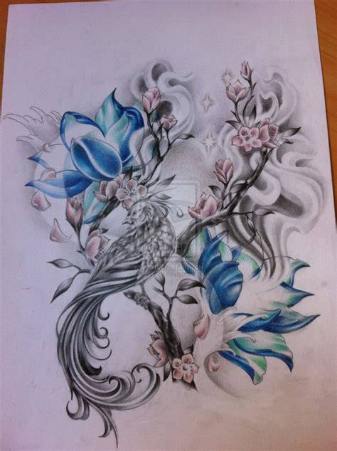 tattoo phoenix lotus blue lotus and phoenix tattoo design photo 1 tattoos