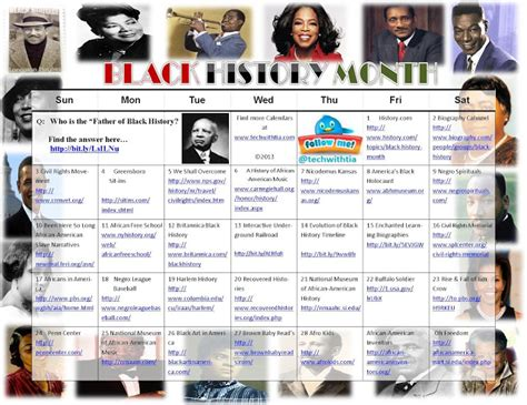 Calendar History Tech With February 2013calendar Black History Month