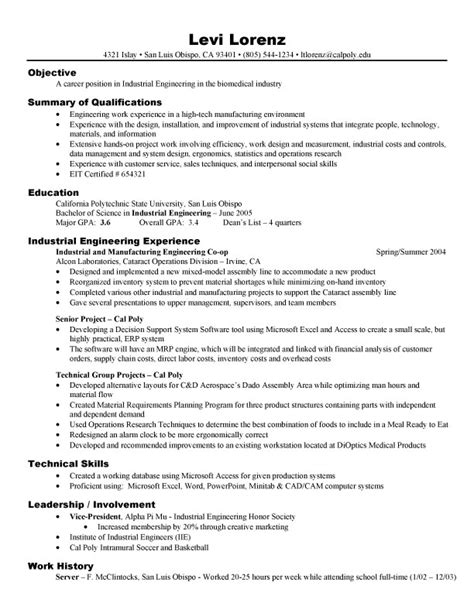 Resume Sles For Engineers Free Free Sle Engineering Resume Exle