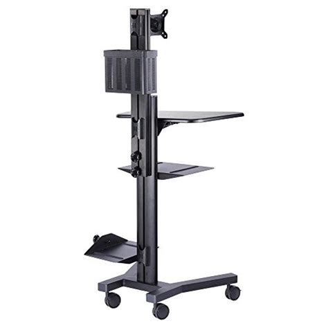 rolling printer cart desk aw rolling desktop pc mobile cart 25x22x69 quot monitor mount
