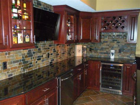 Cherry Cabinets, Granite Countertops, Natural Slate