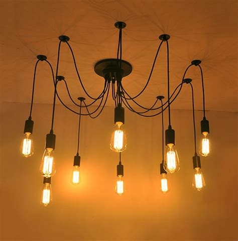 Swag Pendant Lighting 10 Light Adjustable Swag Pendant Black Light Ceiling Fixture Chandelier Ebay
