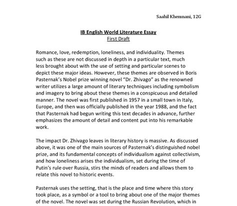 World Literature Essay Ib by World Literature Essay Draft Dr Zhivago International Baccalaureate World